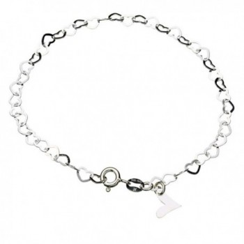 Sterling Silver Flat Heart Link Charm Anklet Nickel Free Chain Italy Adjustable - CX11HHB3VLR