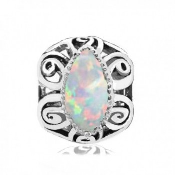 Sterling Silver Swirl Floral Charm with Lab Opal October Birthstone - Fits Jovana- Pandora- Chamilia Bracelet - CR116CU401T