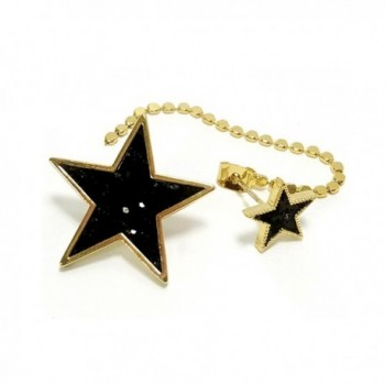 Artnouveau Elle Multi-Glitter Star asymmetric Drop Stud Earrings Back Chain Earring Jackets Jewelry - Black - C5183RXY5AZ