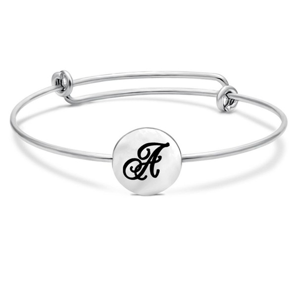 TUSHUO Initial 26 English Letters Sliver Tone Adjustable Wire Bangle Bracelet - CJ1838O9T5D
