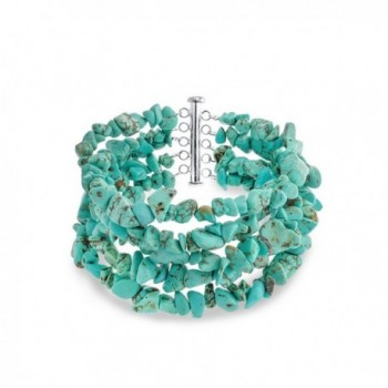 Bling Jewelry 925 Silver Reconstituted Turquoise 5 Strand Nugget Bracelet 8in - CA113AJ4A7H
