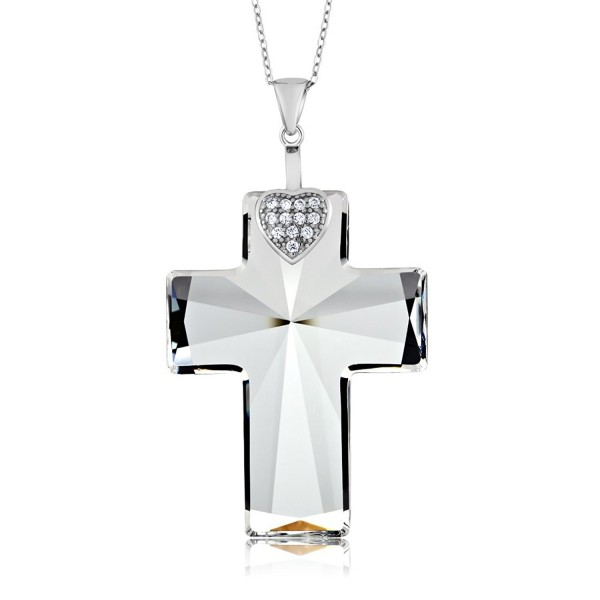 Sterling Silver Cross Pendant Necklace & Chain Created with Swarovski Crystals - CF12CU945WJ