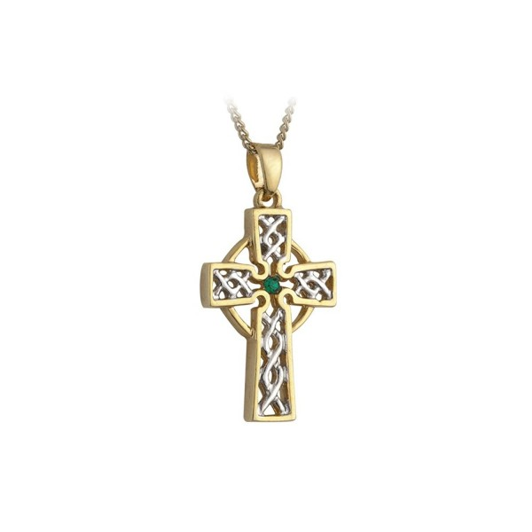 Filigree Celtic Cross Necklace Silver & Gold Plated Irish Made - CI114U1IZ2R