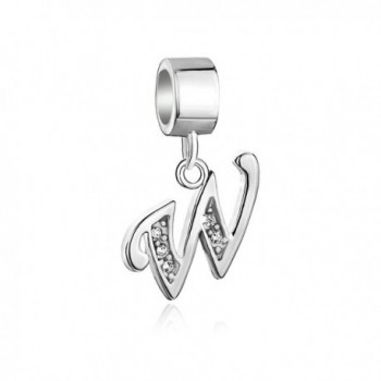 CoolJewelry 925 Sterling Silver A-Z Letter Initial Charm Aiphabet Dangle Beads For Bracelets - CY17Y070CS2