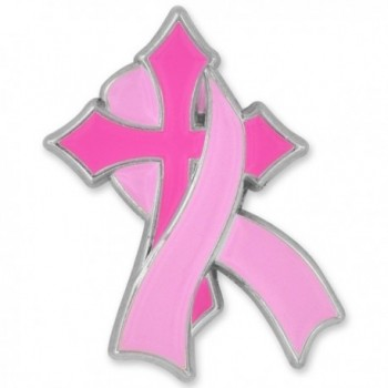 PinMart's Pink Breast Cancer Awareness Religious Cross with Ribbon Enamel Lapel Pin - CY12MZ7V5DS