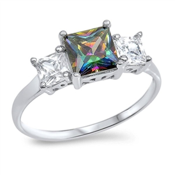 Sterling Silver Square Ring - Mystic Simulated Topaz - CP187Z459S6