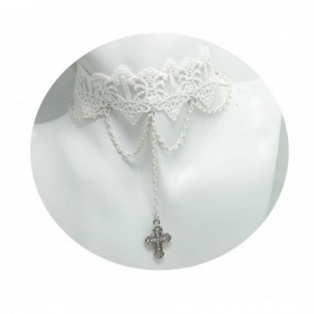 Handmade Loli White Lace Cross Chain Necklace Choker Charm - CQ11EXWYUV3