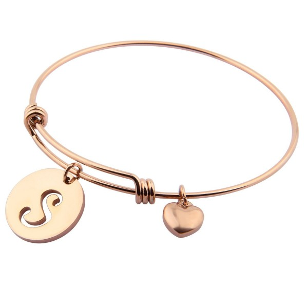 Ensianth Rose Gold Initial Bracelet Stainless Steel Letters Bangle Adjustable Bracelet with Heart Charm - C51879GY5TN