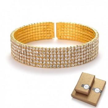 TENGZHEN Bridal Rhinestone Wrap bracelets Silver Tone - Ideal for Wedding- Prom- Party or Pageant - Orange - CO183SDXIYS