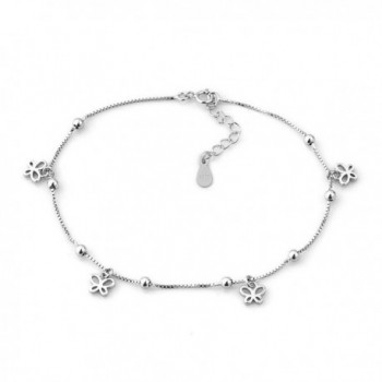 Mel Crouch Sterling Silver Bling Sexy Star/Clover/Butterfly/Heart Beach Anklets Ankle Holiday Bracelets - CI17AADQ2XW