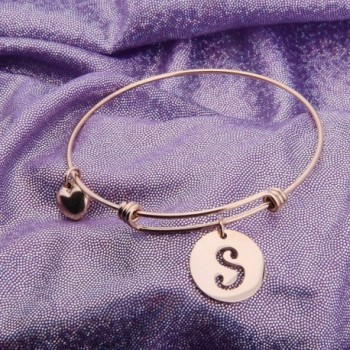 Ensianth Initial Bracelet Stainless Adjustable in Women's Bangle Bracelets
