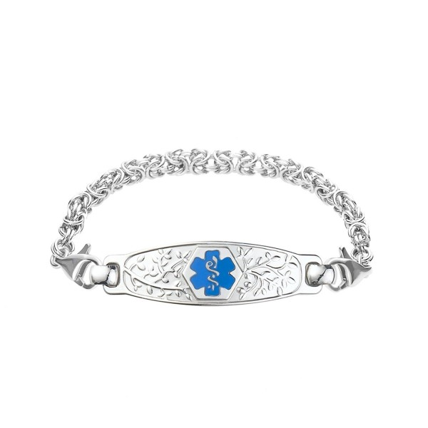 Divoti Custom Engraved Beautiful Olive Medical Alert Bracelet -Handmade Byzantine -Light Blue - C012GGZL8M3