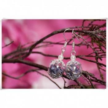 Hand Blown Glass Jewelry Set. Real Lavender Flowers in Globe Earrings. A Perfect Gift for a Friend - CL12GQC5D4F