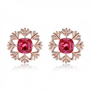 Kemstone Crystals Zirconia Pierced Earrings - Pink- rose gold - CH189U5UOUO