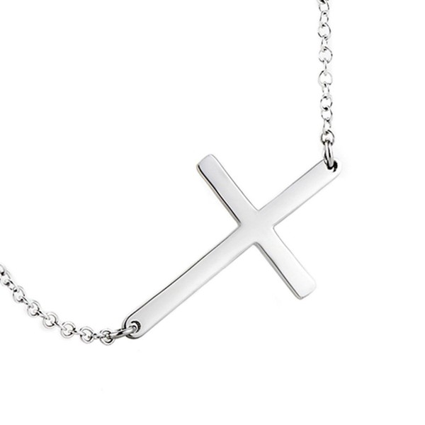 925 Sterling Silver Polished Sideways Cross Pendant Necklace - CF182K99ALL