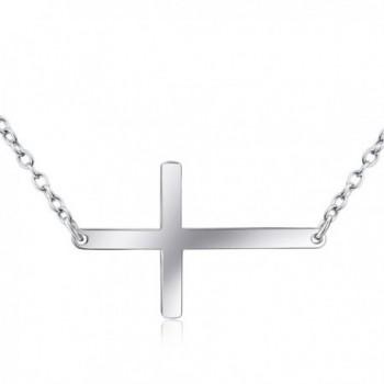 Sterling Polished Sideways Pendant Necklace