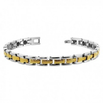 """Gem Avenue Magnetic Link Two tone 0.25"""" Wide Therapy Bracelet 7.5"""" Long with Fold over Clasp - CO111SBZO49"""
