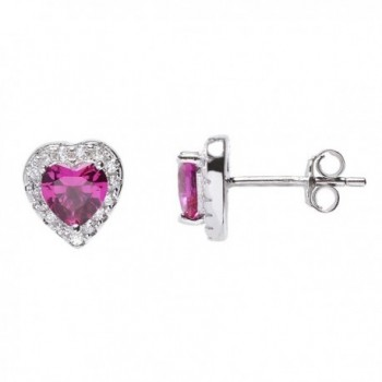 Sterling Silver CZ Halo Heart Stud Earrings - CR11O1I85XX