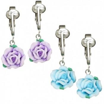 Beautiful Pink- Yellow- Blue- Purple Rose Clip-on Earrings for Women- Girls-Handcrafted Clay Flowers Clip - CF12NTZHDJJ