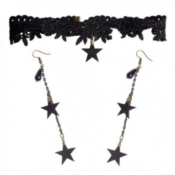 RareLove Gothic Costumes Stars Tassel Black Lace Choker Necklace and Earrings Set - CY186YMHC5D