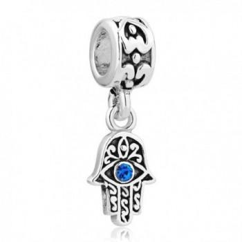 LovelyCharms 925 Sterling Silver Blue Birthstone Evil Eye Hamsa Hand Dangle Beads Fit Bracelets - CN12HIEFLSX