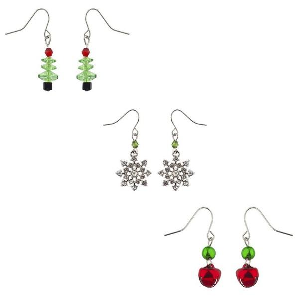 Lux Accessories Holiday Christmas XMAS Christmas Multi Earring Set 3PC - Silver Dangle Multi - C812LV66UOD