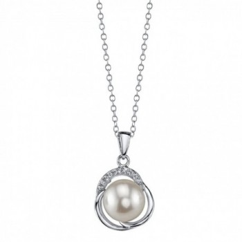 9mm Freshwater Cultured Pearl & Crystal Johnson Pendant - white - CL11N1E4B8L