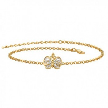 """Two-Tone 18k Gold-Plated Filigree Butterfly Ankle Bracelet Adjustable 9""""-11"""" - CO182WARW7Y"""