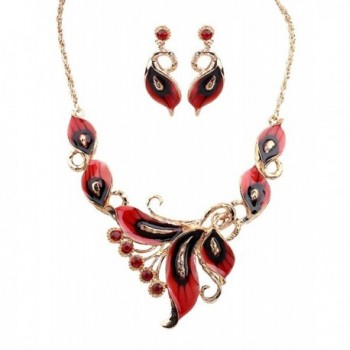 Grenf Fashion Wedding Multi Colored Necklace - Red - CX12EASTUAX
