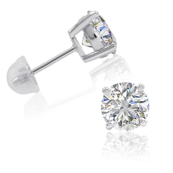 Sterling Silver Stud Earrings made with Swarovski Zirconia ( 3ct tw) - CN122BFAJHL