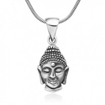 925 Oxidized Sterling Silver Buddha Face Buddhist Symbol Pendant Necklace- 18 inches - CE126H1MZ37