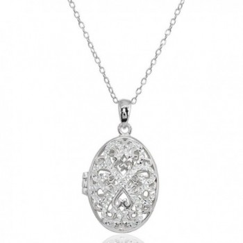 Sterling Silver Polished Diamond-Cut Oval Filigree Picture Locket Necklace - Sterling Silver - CC189TA8CRM