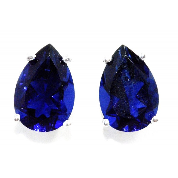 4 Carat Created Blue Sapphire Pear Stud Earrings .925 Sterling Silver Rhodium Finish - C811EFT9Z2D