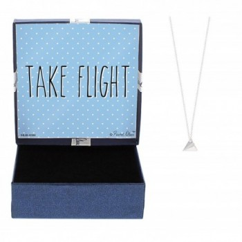 Take Flight Origami Paper Airplane Silver-Tone Necklace Inspirational Message Gift Jewelry - CE12NREIYET