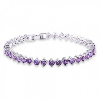 GULICX Women's White Gold Tone Color Cubic Zirconia Roman Tennis Gorgeous Bracelet - Purple - CN12EQ6WZHB