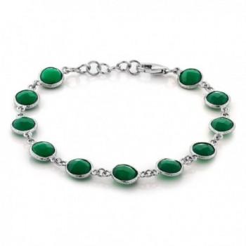 Sterling Silver Green Onyx Tennis Bracelet Round Checkerboard Cut 25.00 Carat 7 Inch +1 inch - C611FFFGHAX