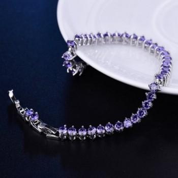 GULICX Womens Amethyst Zirconia Bracelet in Women's Link Bracelets