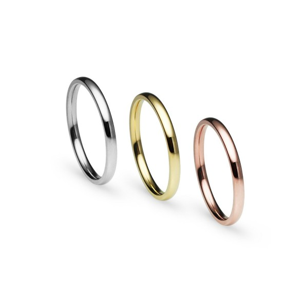 Stackable 3 Piece Set Silver Tone Gold Tone Rose Gold Tone Stainless Steel Wedding Band Ring - CH1802I9KSI