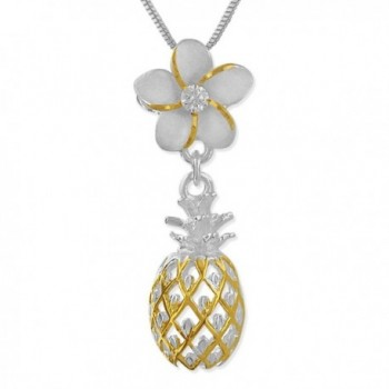 """Sterling Silver 14kt Yellow Gold Plated Accents Plumeria Dangling Pineapple Pendant Necklace- 16+2"""" Extender - CY113ZSJ4QH"""