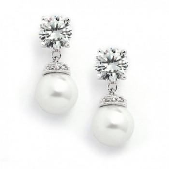 Mariell Light Cream Pearl Drop Wedding Bridal Earrings with Round-Cut CZ - Rich Platinum Plated - CN12H3L3J35