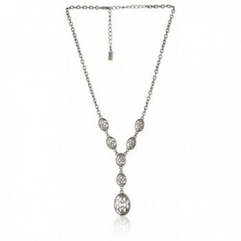 "1928 Jewelry ""Social Essentials"" Filigree Y-Shaped Necklace- 16"" - Silver-Tone - CQ11JPN5CK3"