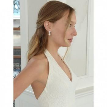 Mariell Wedding Bridal Earrings Round Cut in Women's Drop & Dangle Earrings