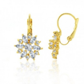 Plated Starburst Leverback Earring Yellow - Yellow Gold - CO12O28JLGT