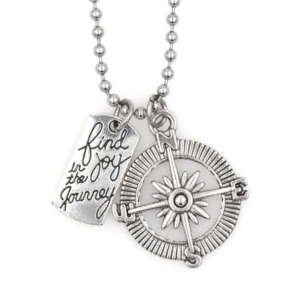 """21.6"""" 2.4mm Stainless Steel Ball Chain with Clasp Necklace Find Joy in the Journey and Compass Joy LC 9C - CO12N0DT2IX"""