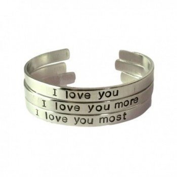 I Love You - I Love You More- I Love You Most Bracelets Set- Stacking Bracelets Aluminum 1/4 Inch Wide - CY11SXTK0VB