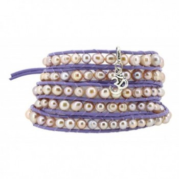 Lilac Freshwater Cultured Dyed Pink Pearls Wrap Bracelet with a Removable Charm Pendant - CM11W4UZXNF