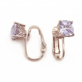 Sparkly Bride CZ Clip On Earrings Purple Rose Gold Plated Checkerboard Faceted Solitaire- 7mm - CI11XSY9AJ3