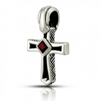 WithLoveSilver 925 Sterling Silver Cross Natural Garnet Stone Pendant - CI11H2I2A9N
