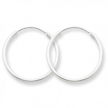 925 Sterling Silver Polished Hollow Tube Endless Hoop Earrings 1.3mm x 20mm - C311FW538JF