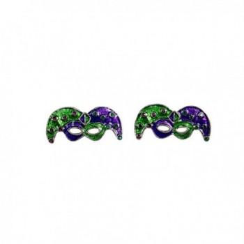 Mardi Gras Mask Earrings Purple and Green - Silver Finish - CV12NVE7LHU